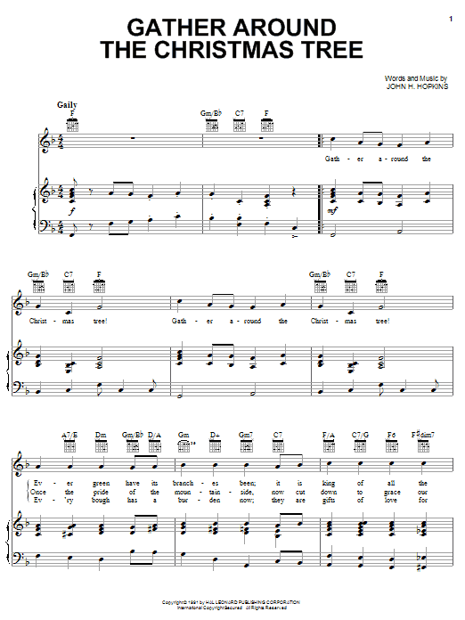 John H. Hopkins, Jr. Gather Around The Christmas Tree sheet music notes and chords. Download Printable PDF.