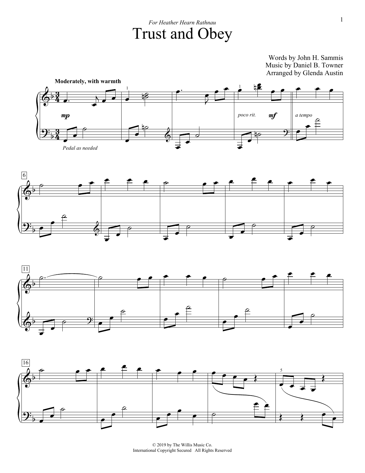 John H. Sammis Trust And Obey (arr. Glenda Austin) sheet music notes and chords. Download Printable PDF.