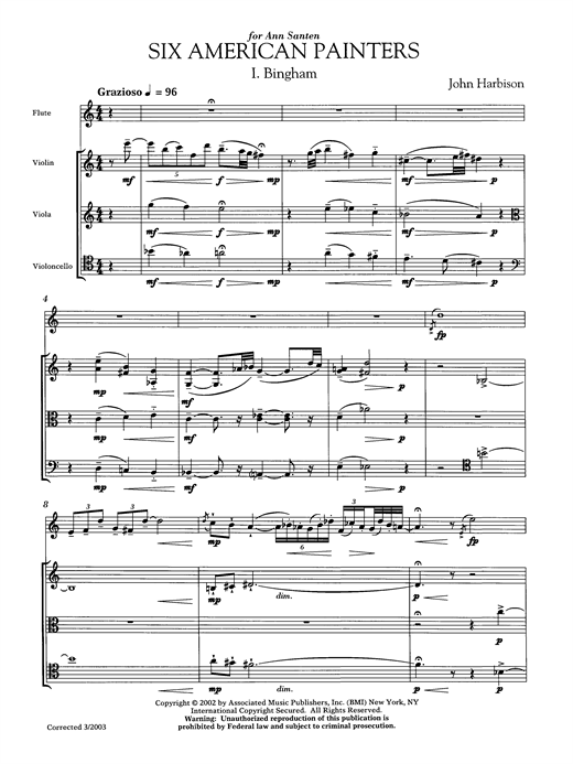 John Harbison Six American Painters (flute version) sheet music notes and chords. Download Printable PDF.