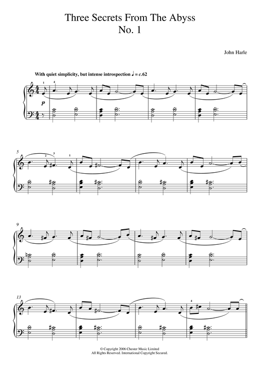John Harle Three Secrets From The Abyss - No. 1 sheet music notes and chords. Download Printable PDF.