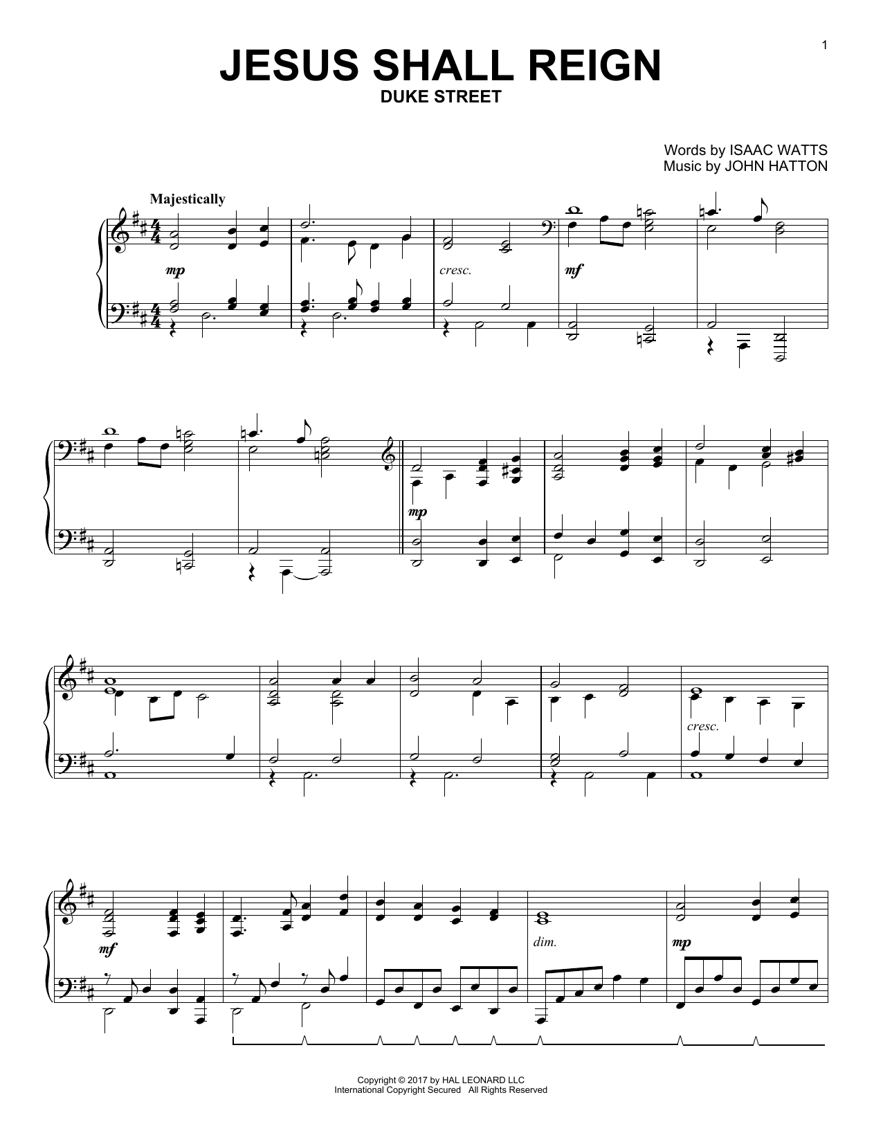 John Hatton Jesus Shall Reign sheet music notes and chords. Download Printable PDF.