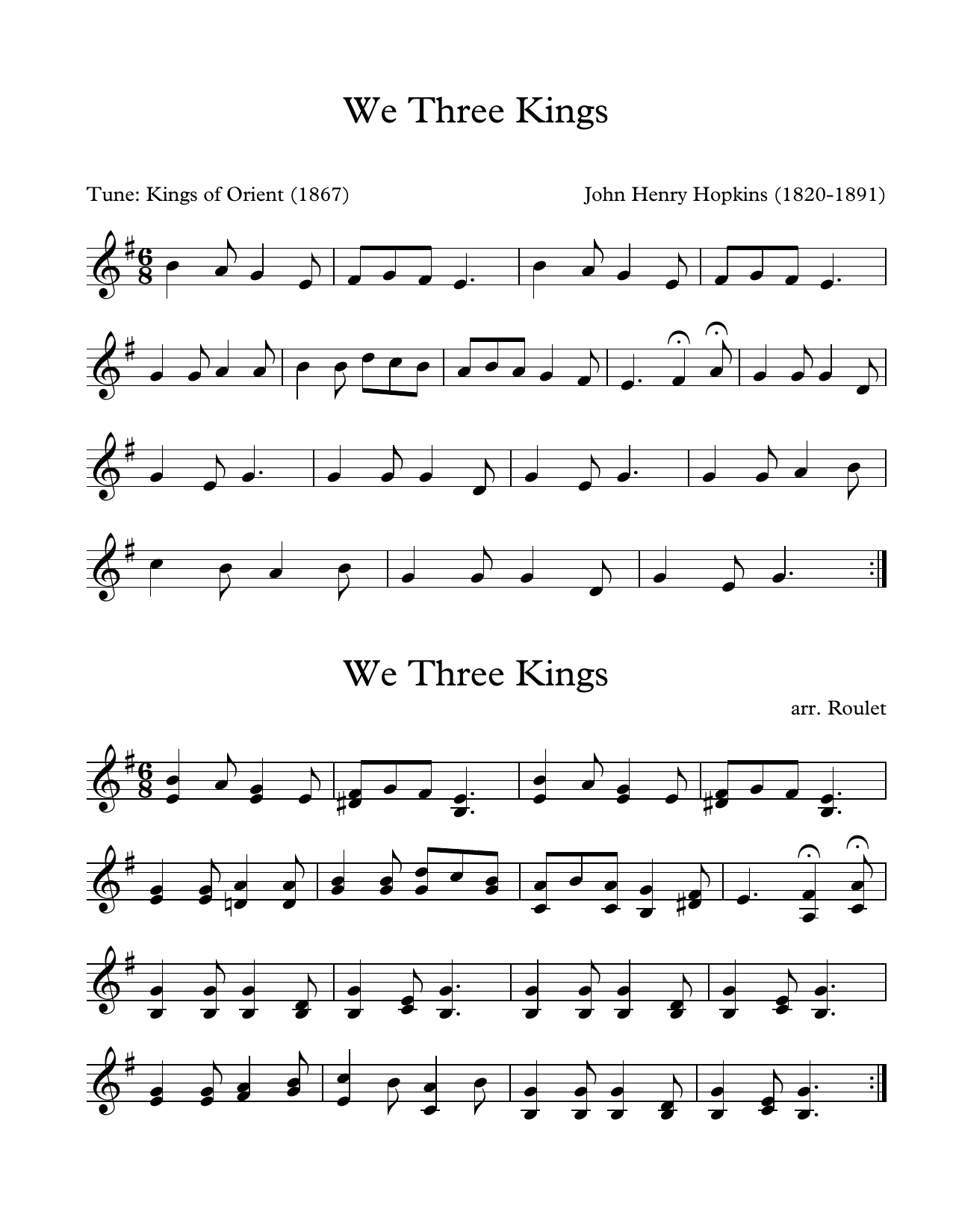 John Henry Hopkins We Three Kings (arr. Patrick Roulet) sheet music notes and chords. Download Printable PDF.