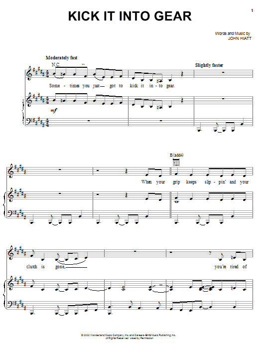 John Hiatt Kick It Into Gear (from The Country Bears) sheet music notes and chords. Download Printable PDF.