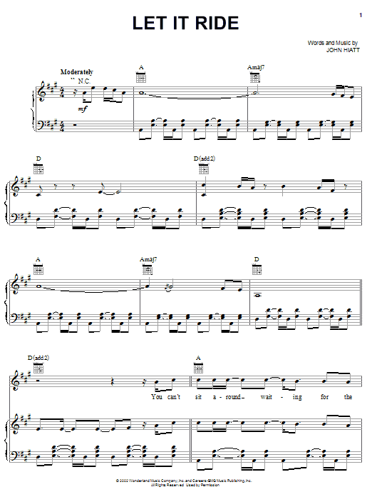 John Hiatt Let It Ride (from The Country Bears) sheet music notes and chords. Download Printable PDF.
