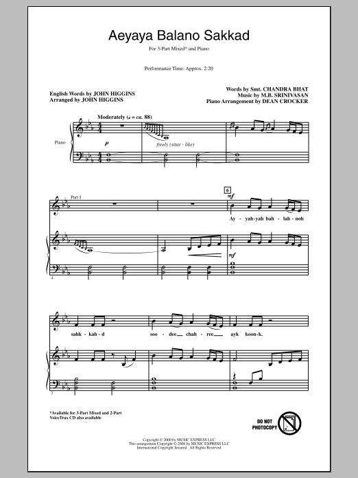 John Higgins Aeyaya Balano Sakkad sheet music notes and chords. Download Printable PDF.
