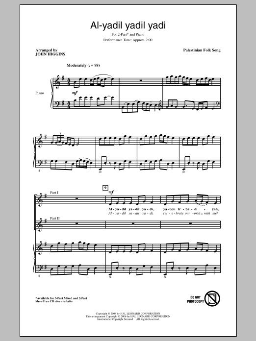 Traditional Al-Yadil Yadil Yadi (arr. John Higgins) sheet music notes and chords. Download Printable PDF.