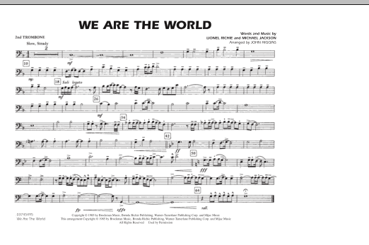 John Higgins 'We Are The World - 2nd Trombone' Sheet Music Notes, Chords |  Download Printable Marching Band - SKU: 287057