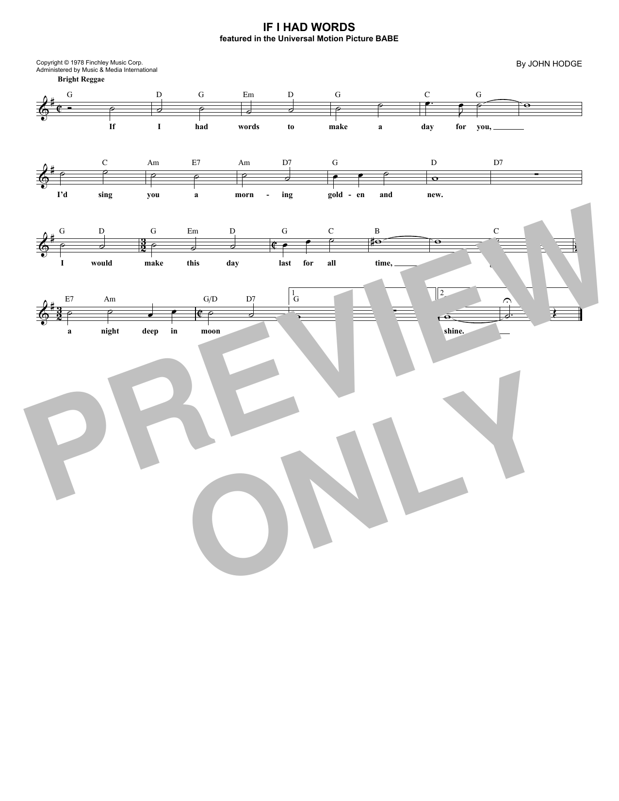 John Hodge If I Had Words sheet music notes and chords. Download Printable PDF.