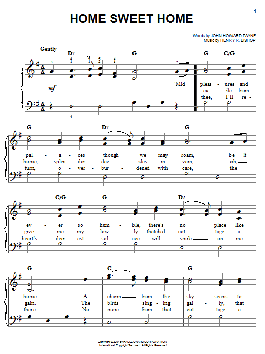John Howard Payne Home Sweet Home sheet music notes and chords