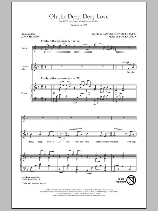 John Hudson Oh The Deep, Deep Love sheet music notes and chords. Download Printable PDF.
