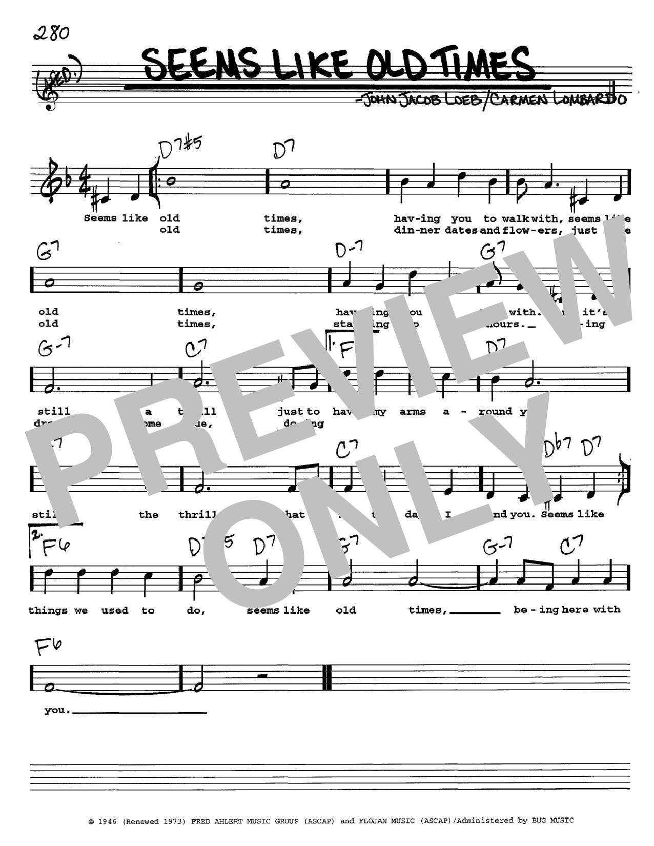John Jacob Loeb Seems Like Old Times sheet music notes and chords. Download Printable PDF.