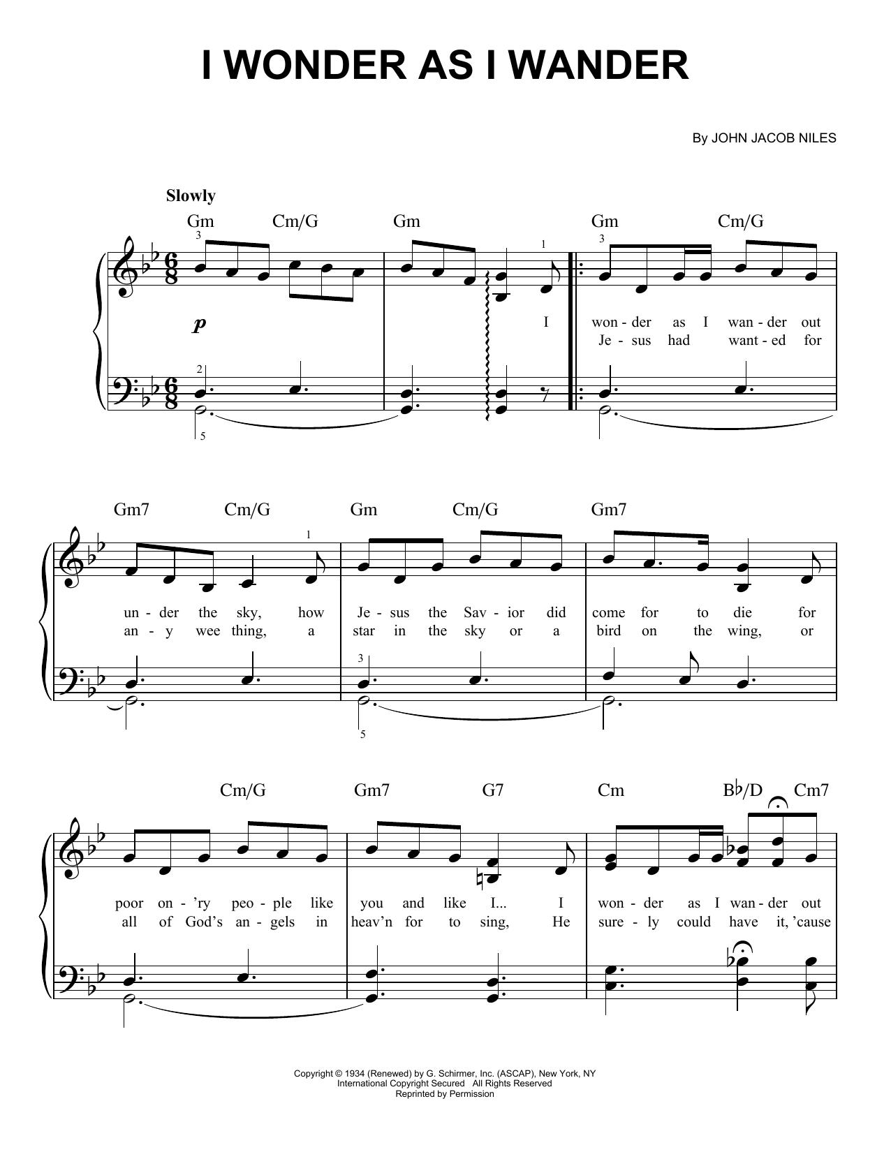 John Jacob Niles I Wonder As I Wander sheet music notes and chords. Download Printable PDF.