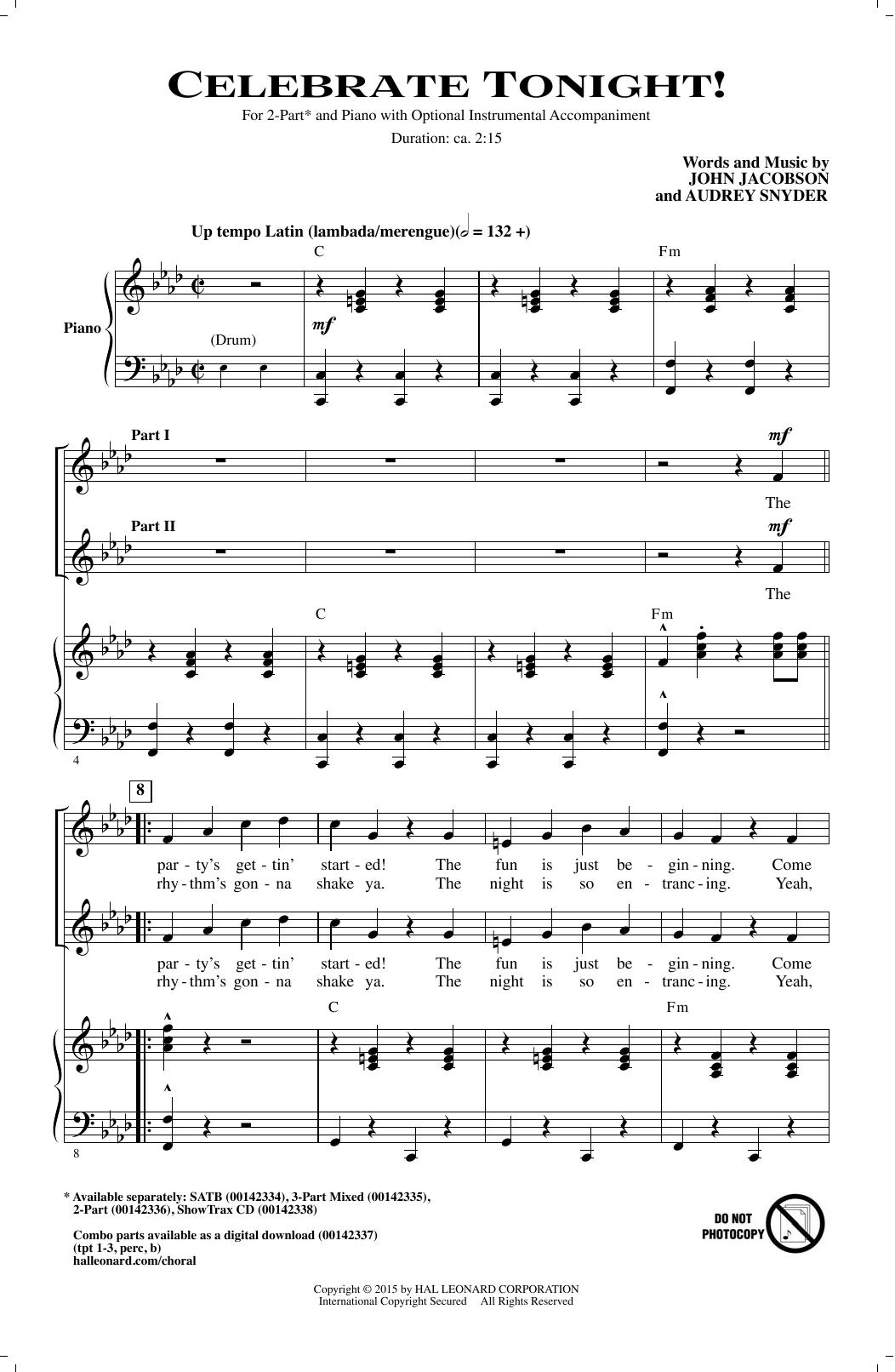John Jacobson Celebrate Tonight! sheet music notes and chords. Download Printable PDF.