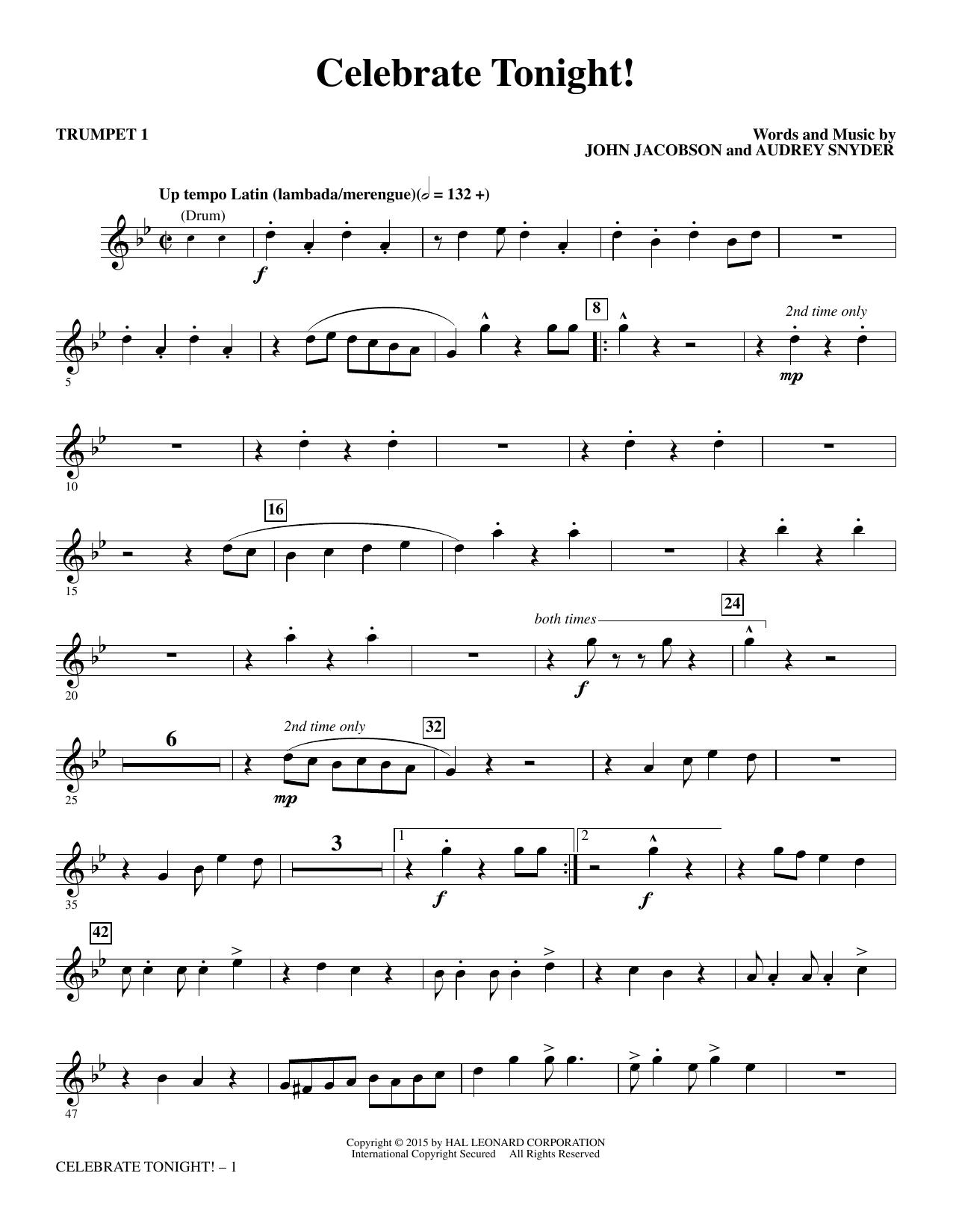John Jacobson Celebrate Tonight! - Trumpet 1 sheet music notes and chords. Download Printable PDF.