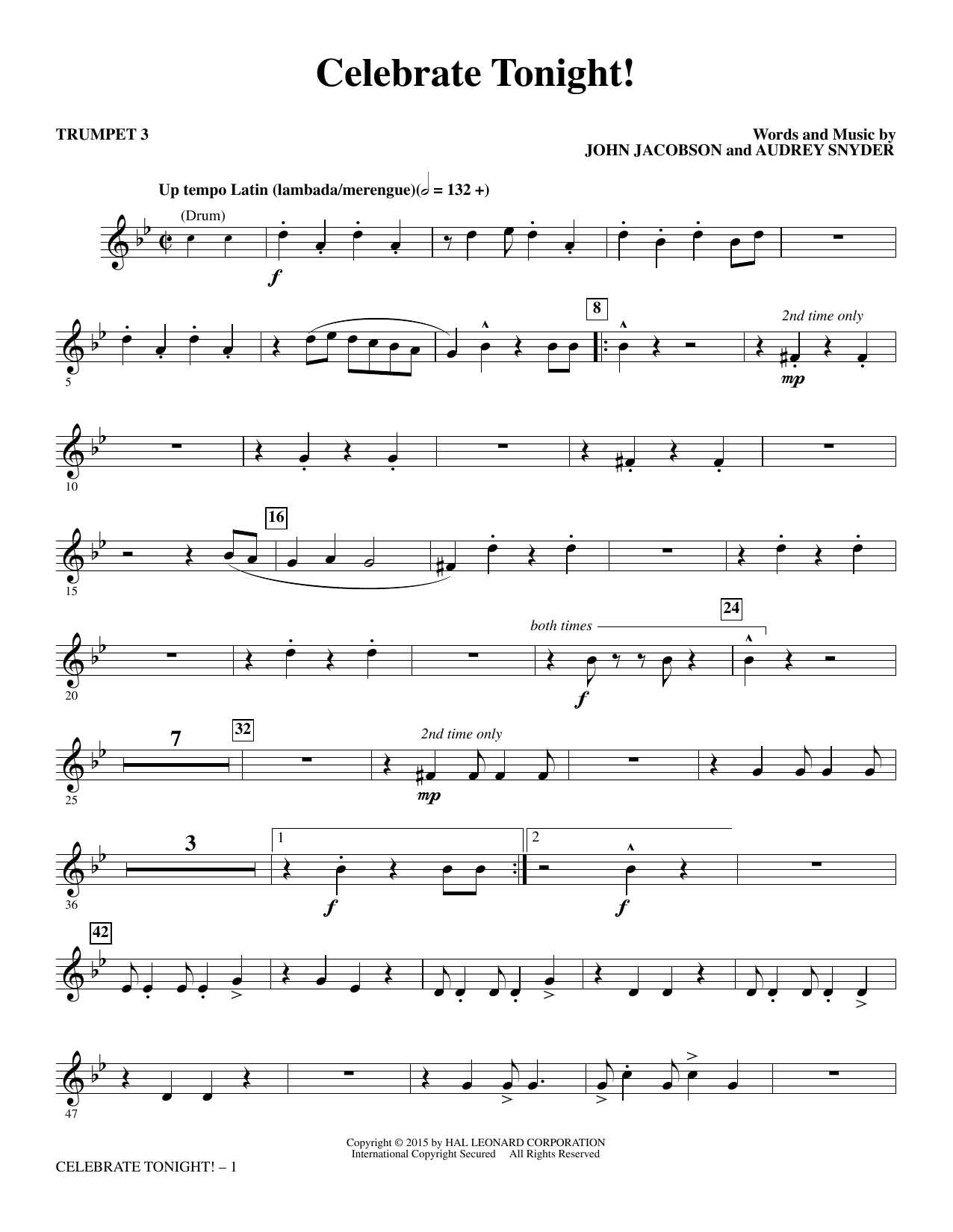 John Jacobson Celebrate Tonight! - Trumpet 3 sheet music notes and chords. Download Printable PDF.