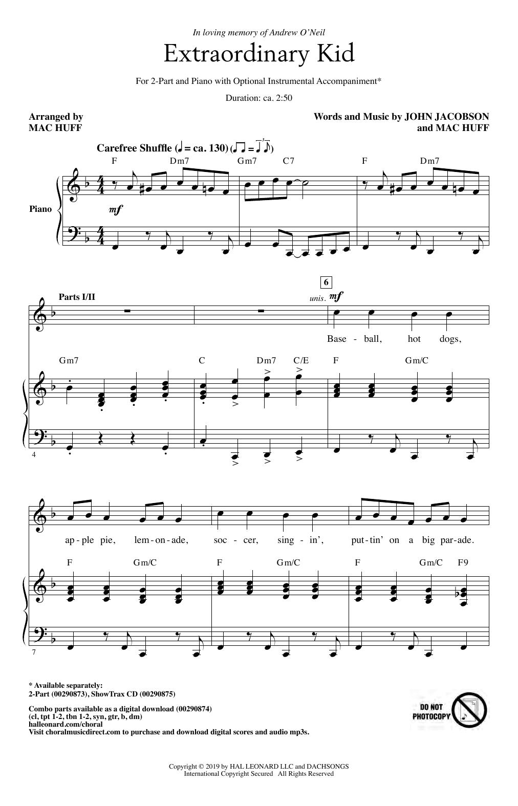 John Jacobson & Mac Huff Extraordinary Kid sheet music notes and chords