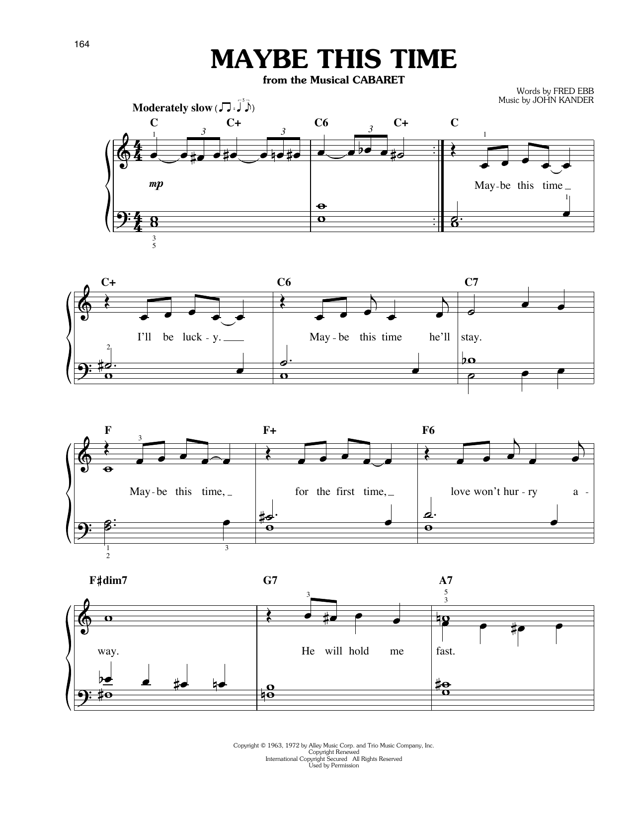 John Kander Maybe This Time sheet music notes and chords. Download Printable PDF.