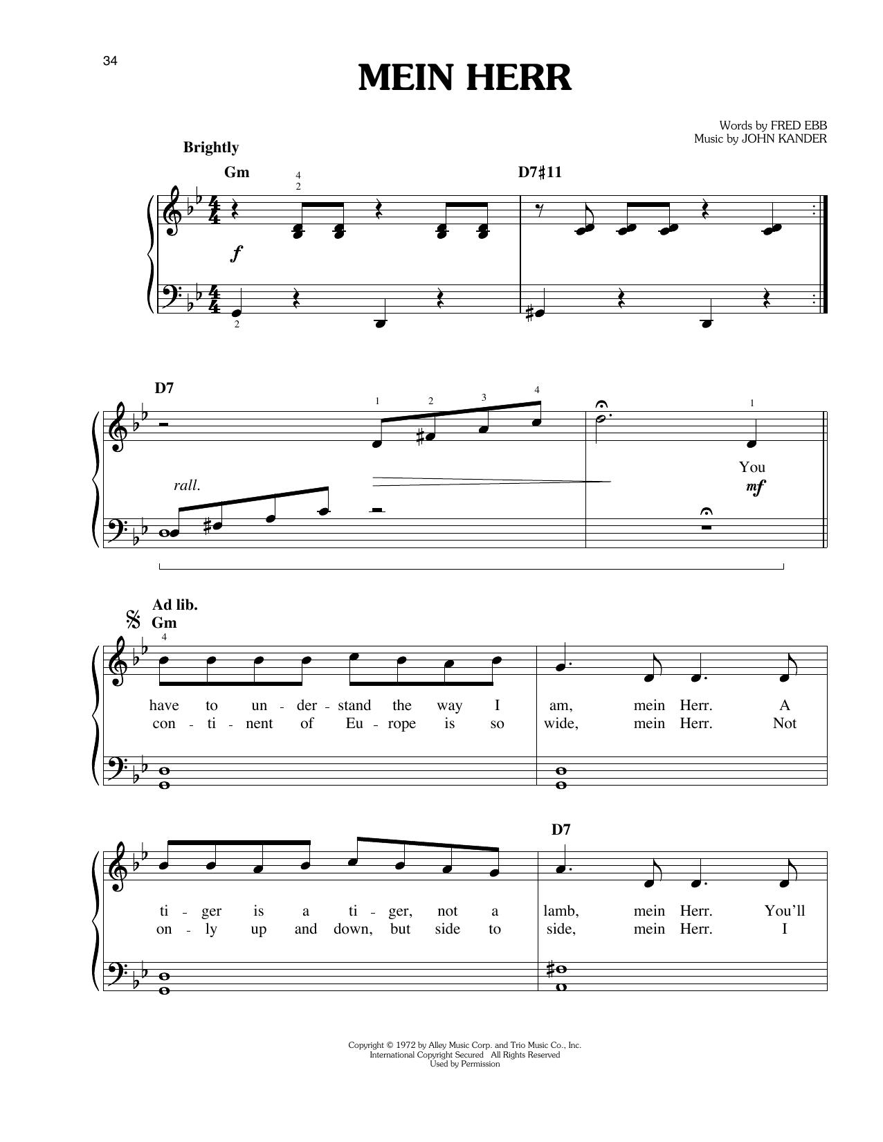 John Kander Mein Herr sheet music notes and chords