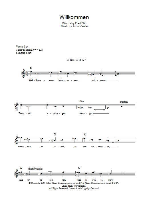 John Kander Wilkommen (from Cabaret) sheet music notes and chords. Download Printable PDF.