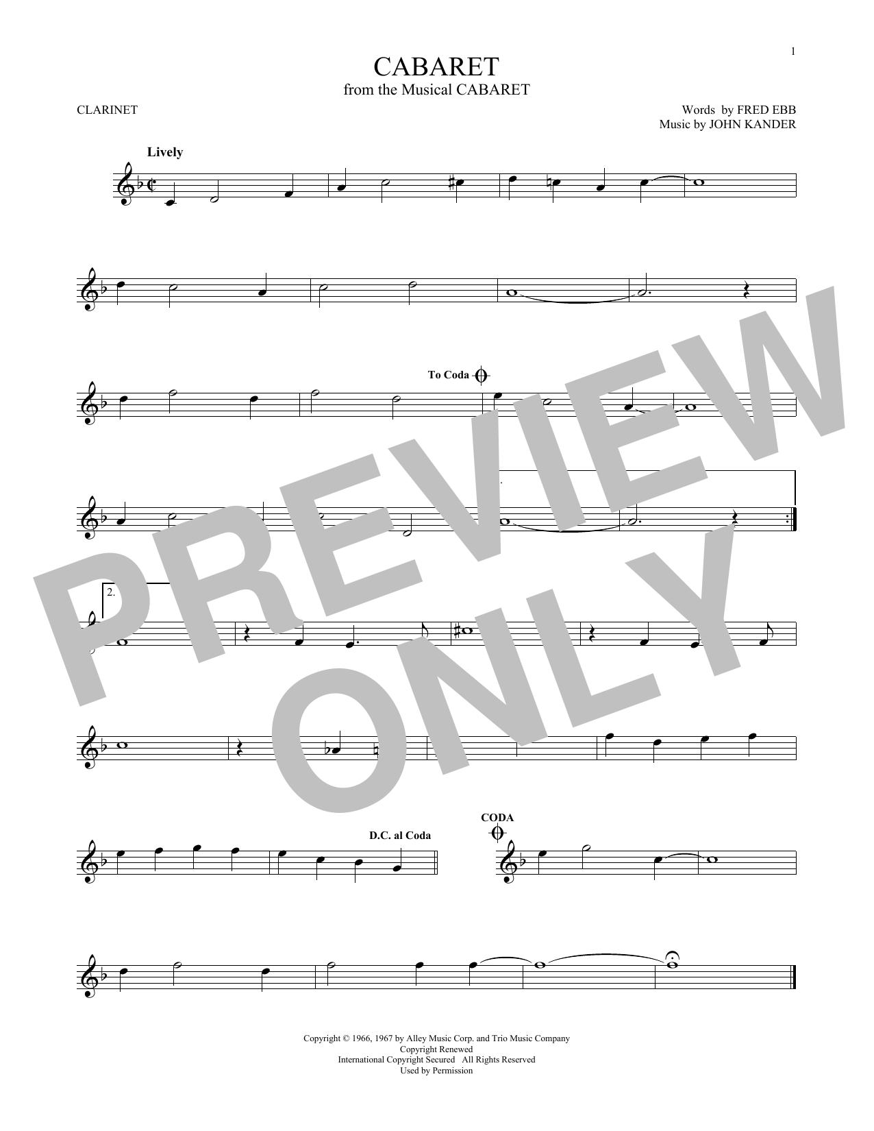John Kander & Fred Ebb Cabaret sheet music notes and chords. Download Printable PDF.