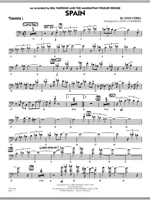 John La Barbera Spain - Trombone 1 sheet music notes and chords. Download Printable PDF.