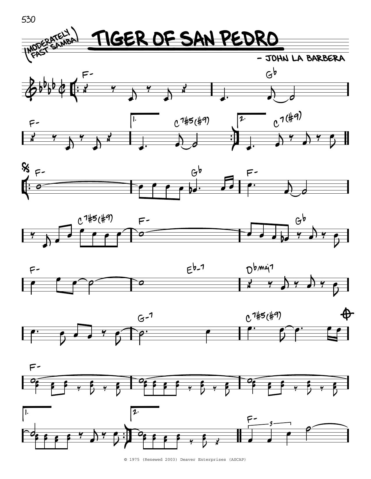 John La Barbera Tiger Of San Pedro sheet music notes and chords. Download Printable PDF.