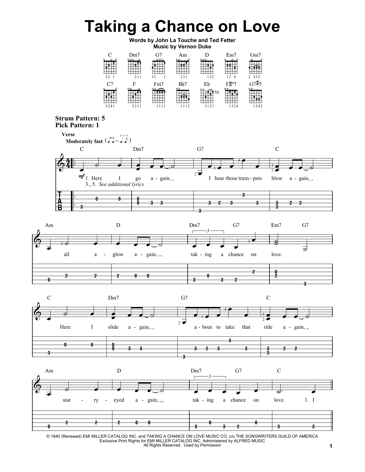 John La Touche Taking A Chance On Love sheet music notes and chords. Download Printable PDF.
