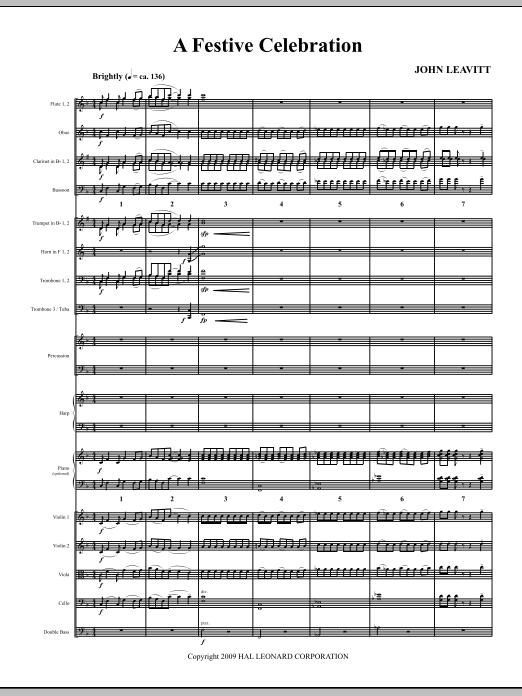 John Leavitt A Festive Celebration - Full Score sheet music notes and chords. Download Printable PDF.