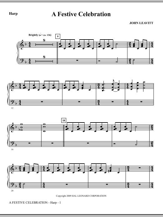 John Leavitt A Festive Celebration - Harp sheet music notes and chords. Download Printable PDF.