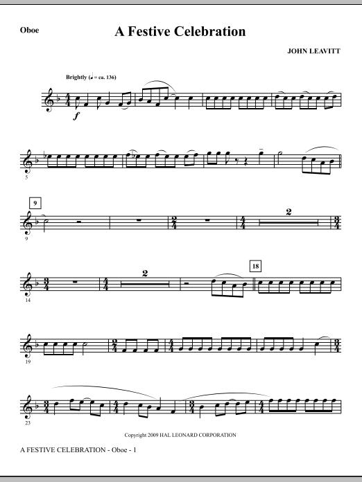 John Leavitt A Festive Celebration - Oboe sheet music notes and chords. Download Printable PDF.