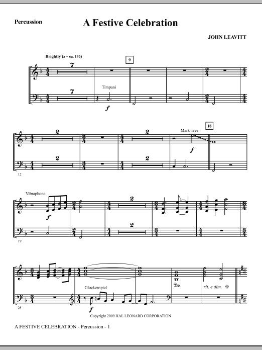 John Leavitt A Festive Celebration - Percussion sheet music notes and chords. Download Printable PDF.