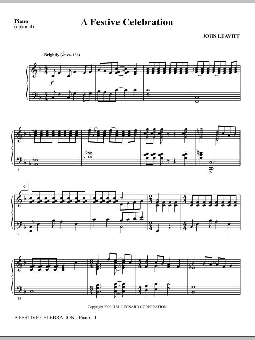 John Leavitt A Festive Celebration - Piano sheet music notes and chords. Download Printable PDF.