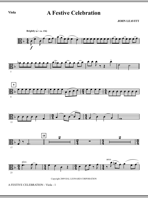 John Leavitt A Festive Celebration - Viola sheet music notes and chords. Download Printable PDF.
