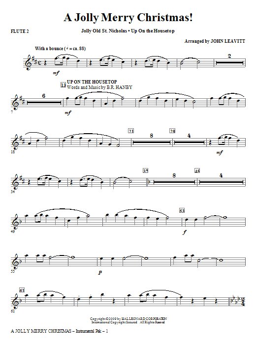 John Leavitt A Jolly Merry Christmas - Flute 2 sheet music notes and chords. Download Printable PDF.