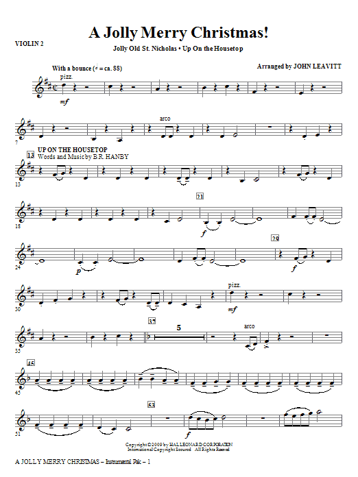 John Leavitt A Jolly Merry Christmas - Viola sheet music notes and chords. Download Printable PDF.