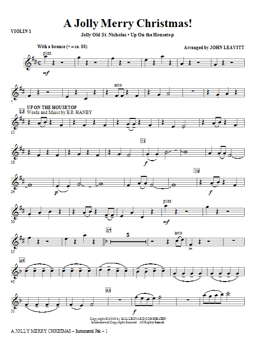 John Leavitt A Jolly Merry Christmas - Violin 2 sheet music notes and chords. Download Printable PDF.