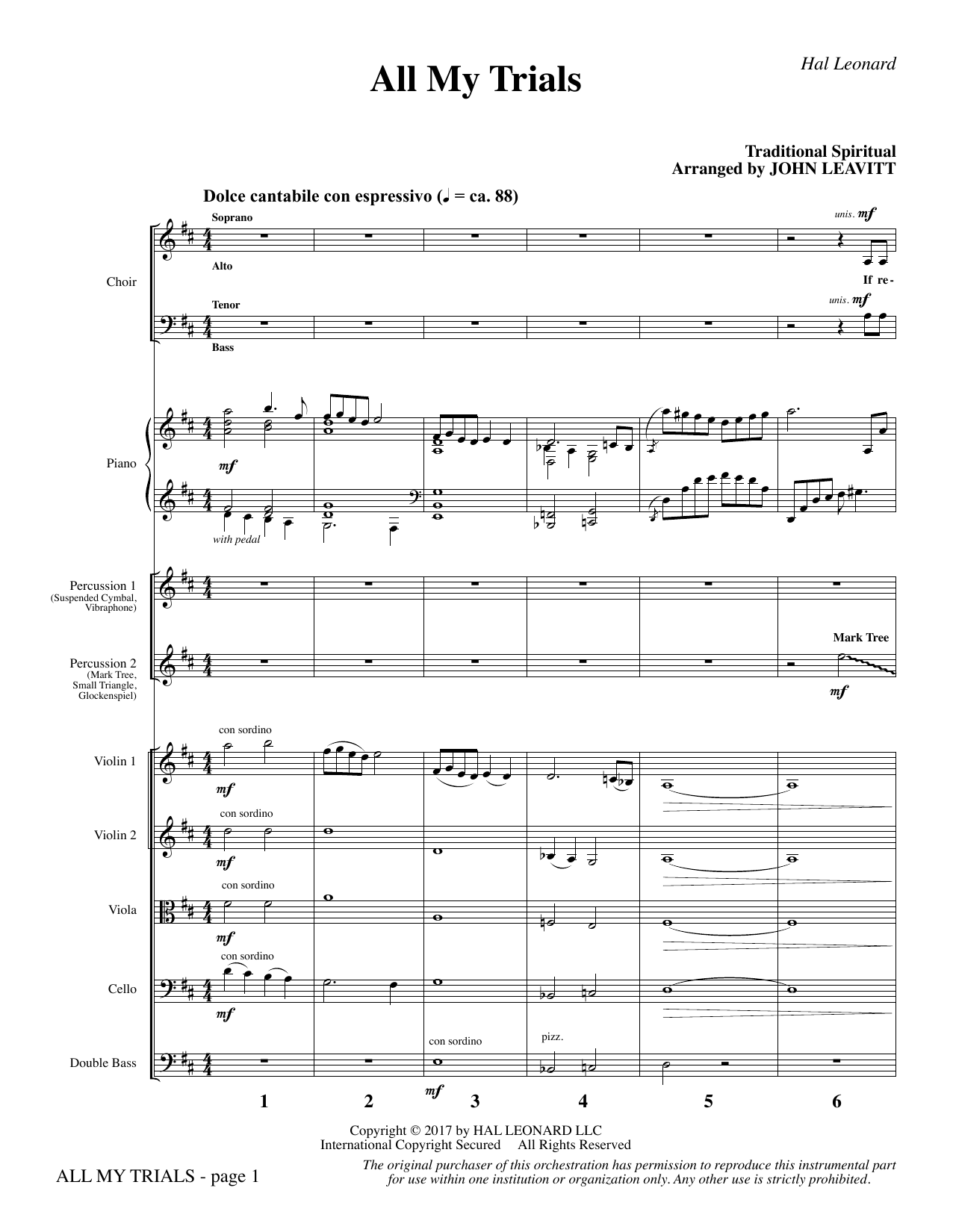 John Leavitt All My Trials - Full Score sheet music notes and chords. Download Printable PDF.