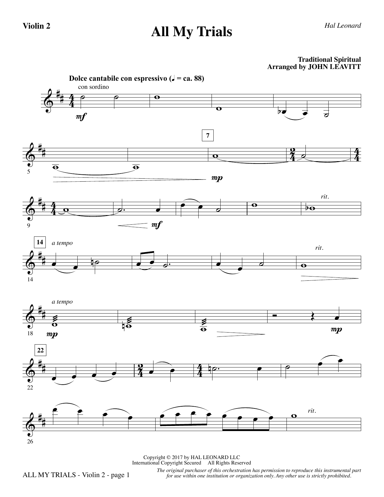 John Leavitt All My Trials - Violin 2 sheet music notes and chords. Download Printable PDF.
