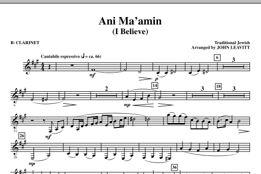 John Leavitt Ani Ma'amin (I Believe) - Bb Clarinet sheet music notes and chords. Download Printable PDF.