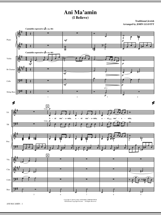 John Leavitt Ani Ma'amin (I Believe) - Full Score sheet music notes and chords. Download Printable PDF.