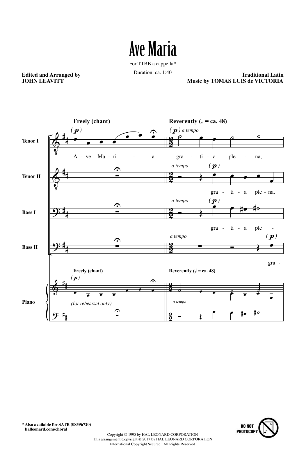 John Leavitt Ave Maria sheet music notes and chords. Download Printable PDF.