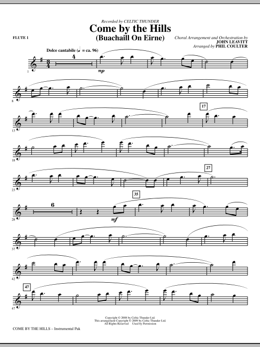 John Leavitt Come By The Hills (Buachaill On Eirne) - Flute 1 sheet music notes and chords. Download Printable PDF.