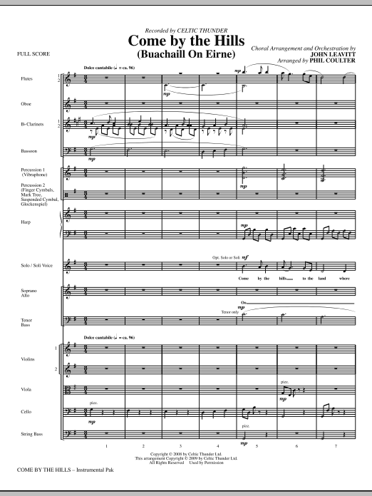 John Leavitt Come By The Hills (Buachaill On Eirne) - Full Score sheet music notes and chords. Download Printable PDF.