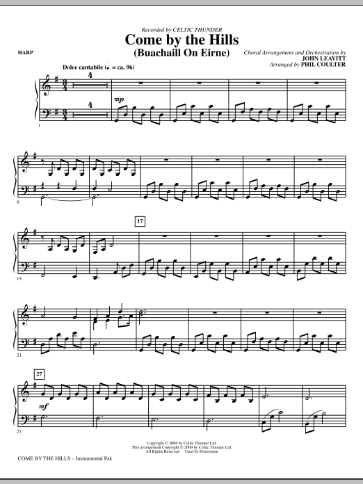 John Leavitt Come By The Hills (Buachaill On Eirne) - Harp sheet music notes and chords. Download Printable PDF.