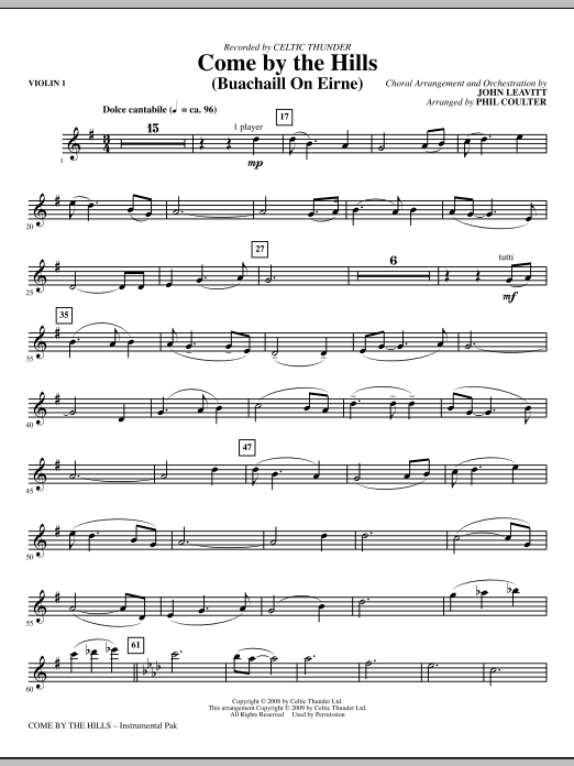 John Leavitt Come By The Hills (Buachaill On Eirne) - Violin 1 sheet music notes and chords. Download Printable PDF.