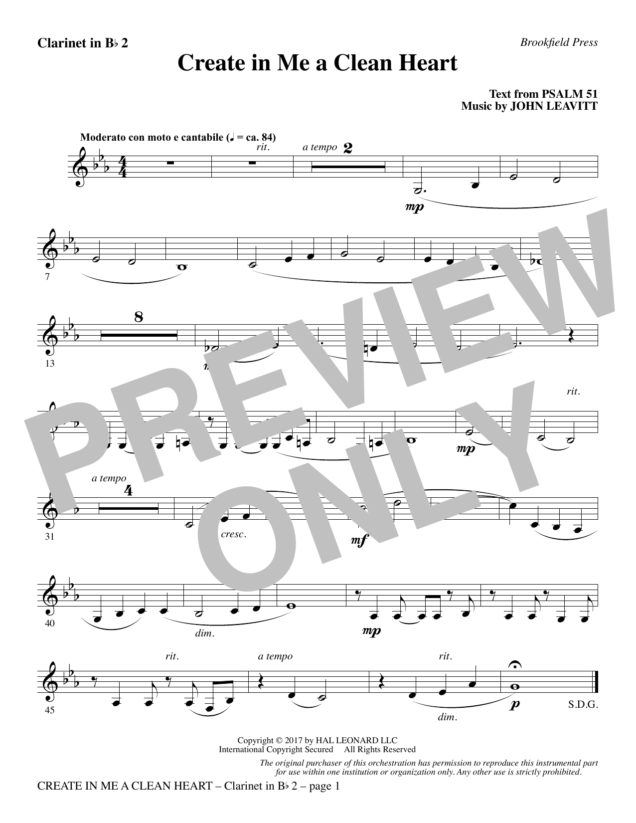 John Leavitt Create in Me a Clean Heart - Bb Clarinet 2 sheet music notes and chords. Download Printable PDF.