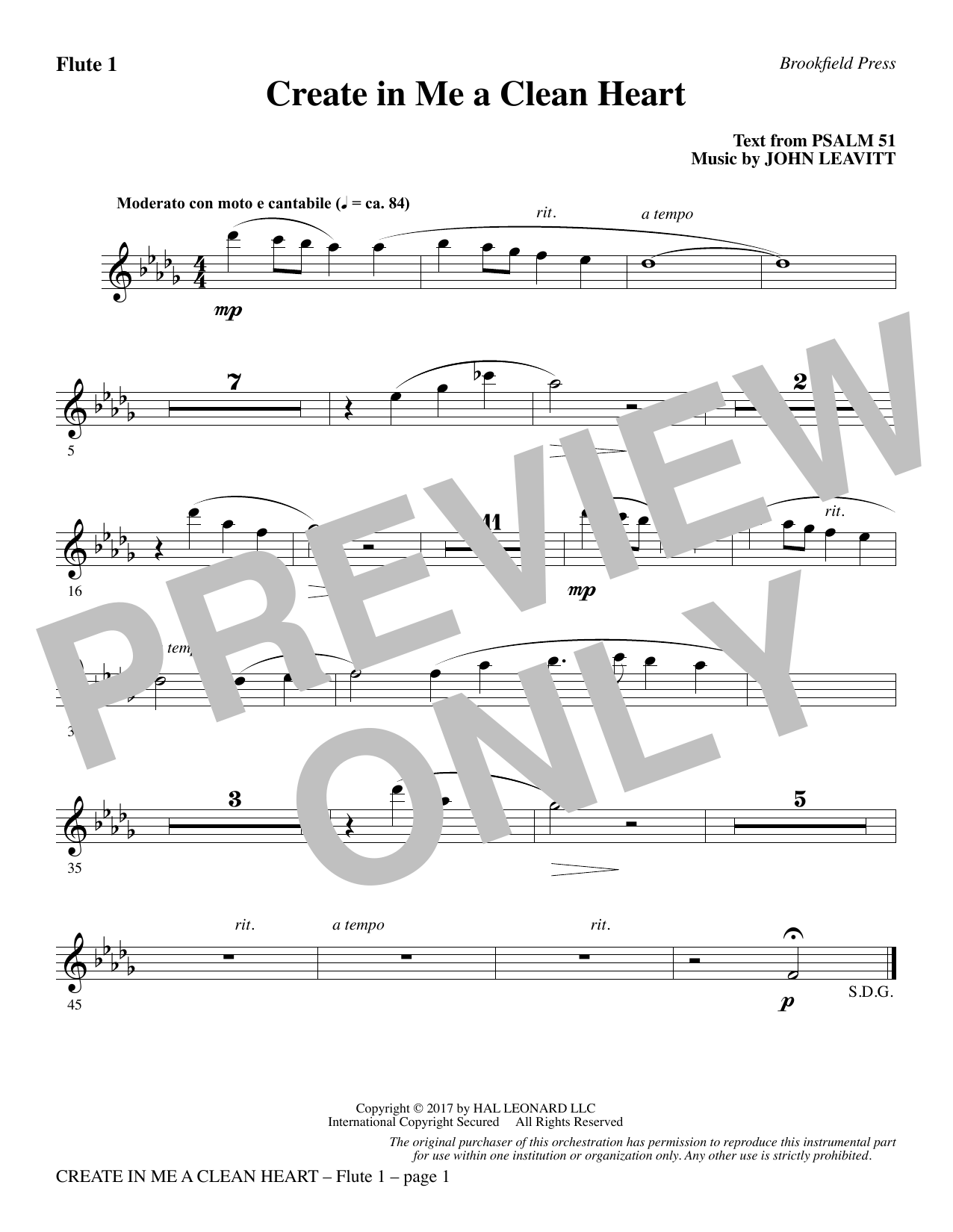 John Leavitt Create in Me a Clean Heart - Flute 1 sheet music notes and chords. Download Printable PDF.