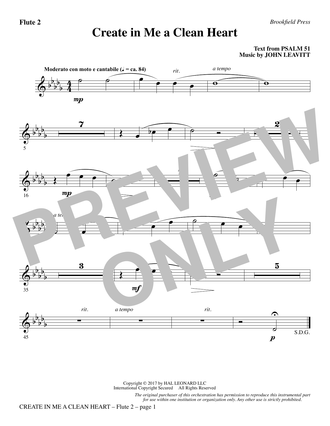 John Leavitt Create in Me a Clean Heart - Flute 2 sheet music notes and chords. Download Printable PDF.