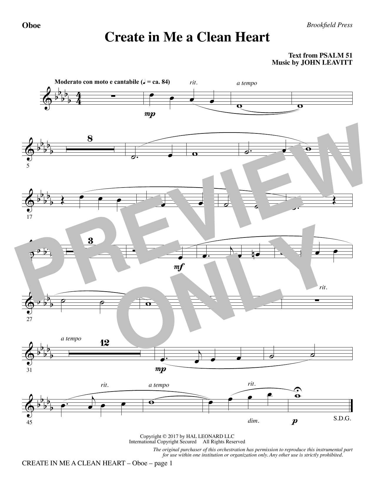 John Leavitt Create in Me a Clean Heart - Oboe sheet music notes and chords. Download Printable PDF.