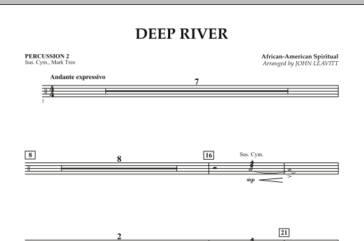 John Leavitt Deep River - Percussion 2 sheet music notes and chords. Download Printable PDF.
